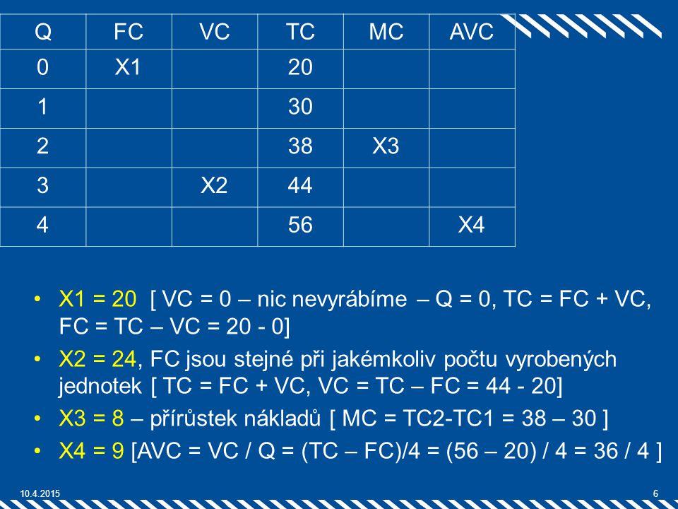 X3 = 8 – přírůstek nákladů [ MC = TC2-TC1 = 38 – 30 ]